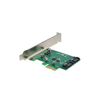 ADWITS PCIe 1x a SATA III 6Gbps Puerto x2 Tarjeta de expansión con ASMedia ASM1061 Controlador de Host SATA, Soporte SATA HDD SSD Quemaor de CD - ...