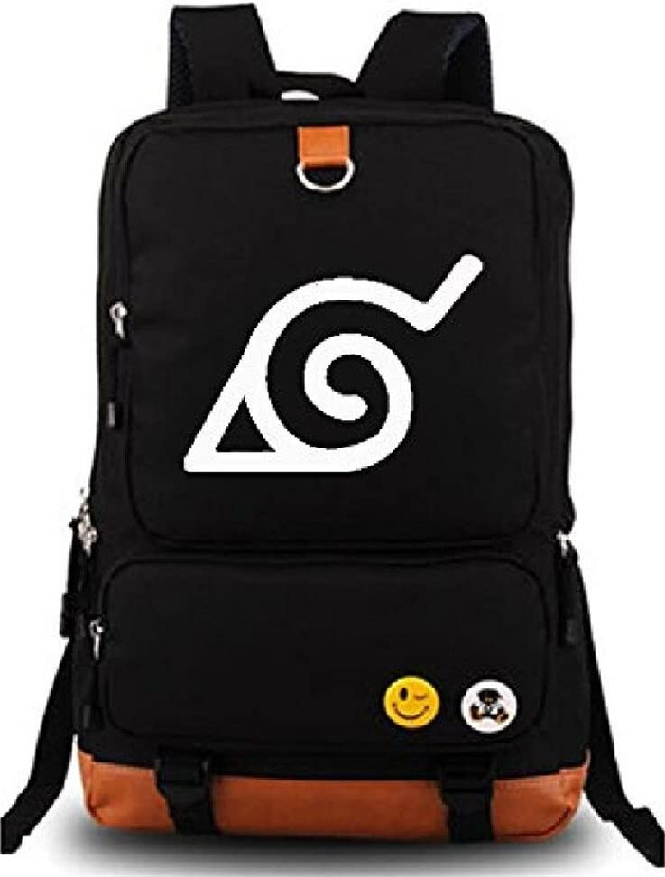 Gumstyle Anime Naruto Luminous Large Capacity School Bag Cosplay Backpack Black and Blue