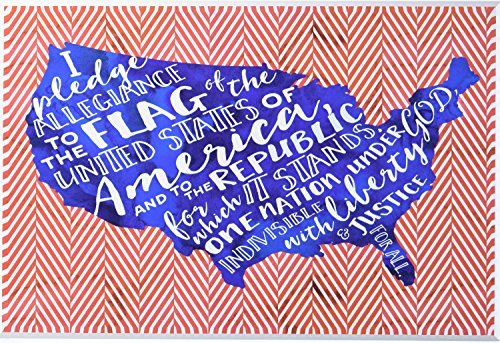 Stupell Home Décor Pledge of Allegiance Typog with Chevron Wall