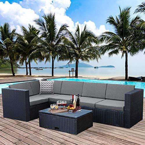 WO WESTIN OUTDOOR 7pcs Patio Outdoor Sectional Sofa Set, Rattan Wicker Sofa Garden Conversation Bistro Set for Yard, Pool or Backyard, Black