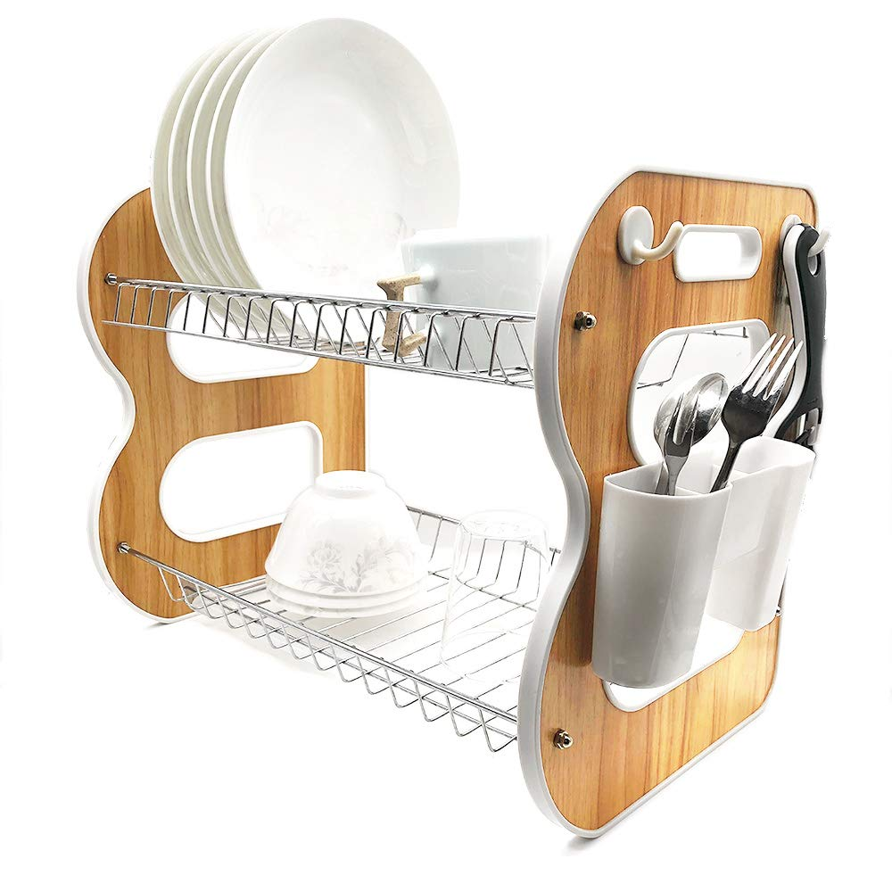 2-Tier Wood Dish Rack and DrainBoard, 17''x15''x10.2'' Kitchen Plate Cup Dish Drying Rack Tray Cultery Dish Drainer