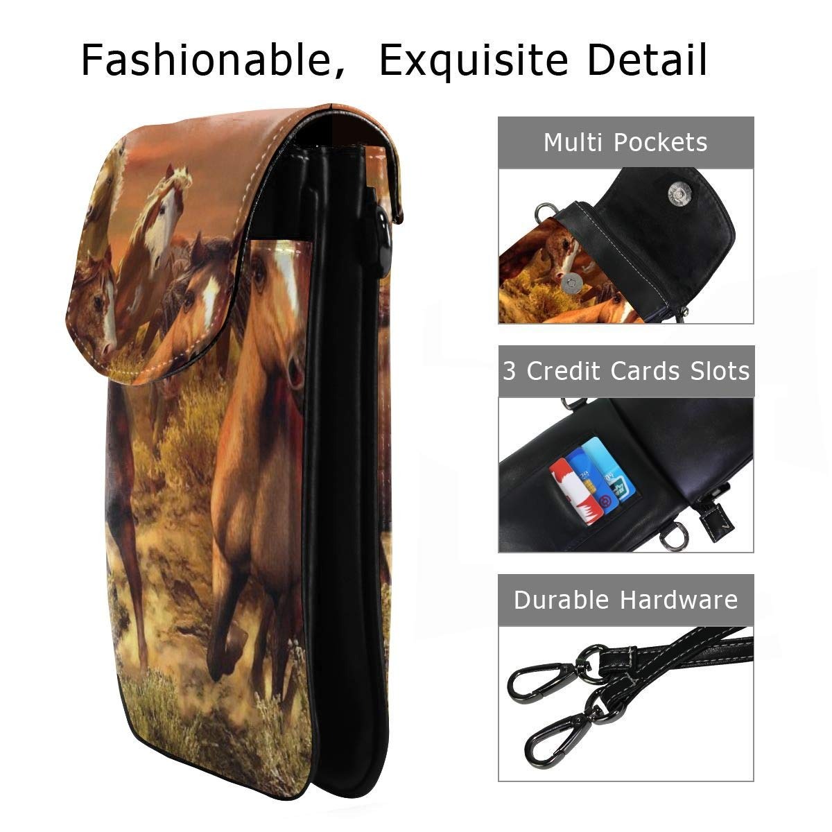 V5DGFJH.B Womens Crossbody Cell Phone Bags Running Horse Painting Girls Small Credit Card Shoulder Handbag Coin Purse