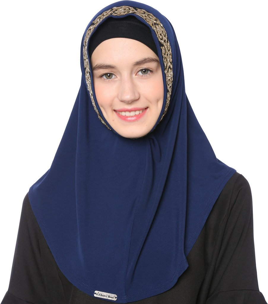 Ababalaya Women's Muslim Glitter Sequins Solid Jersey Headscarf Instant Hijab Ready to Wear Hijab,Navy Blue