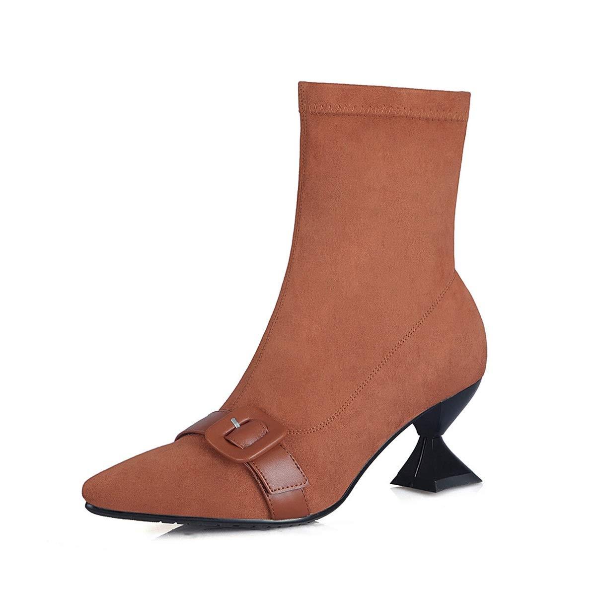 Damenstiefeletten, Herbst Winter High Heel Martin Stiefel Damen Leder Leder Leder Mid Heel Thick Heel Fashion Stiefel (Farbe   B, Größe   39) 3a5f61