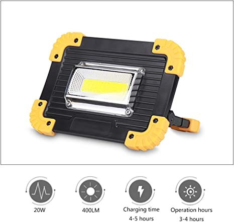 20W Spotlights Portable Charging Flood Light USB Rechargeable Black+Yellow 5V