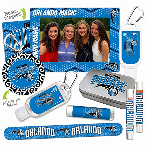 - NBA Orlando Magic Platinum Variety Set— with 2 Lip Shimmers, Lip Balm, Nail File, Mirror, Sanitizer, Lotion, Mint Tin, Magnetic Picture Frame. NBA Basketball Gifts for Women, Mother's Day.