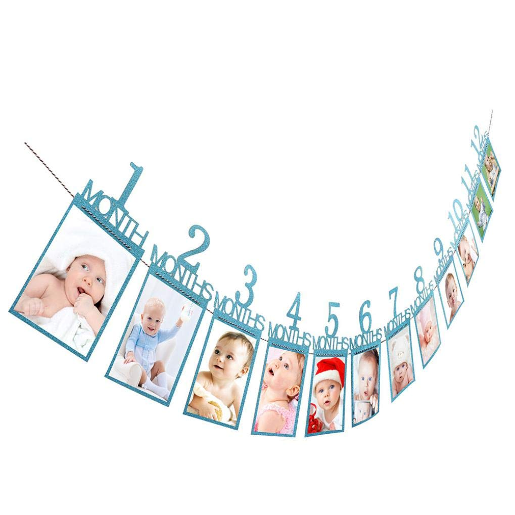 Staron Photo Banner, Baby Birthday Picture Frame Photo Display 1st Birthday Decorations 1-12 Month Photo Banner - Monthly Milestone Photo Banner - First Birthday Party Supplies (Blue) Staron ®