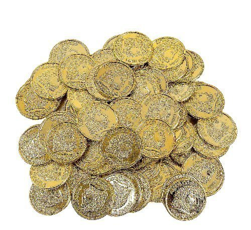 Fun Express Pirate Party Favor Gold Play Coins, 144Pieces