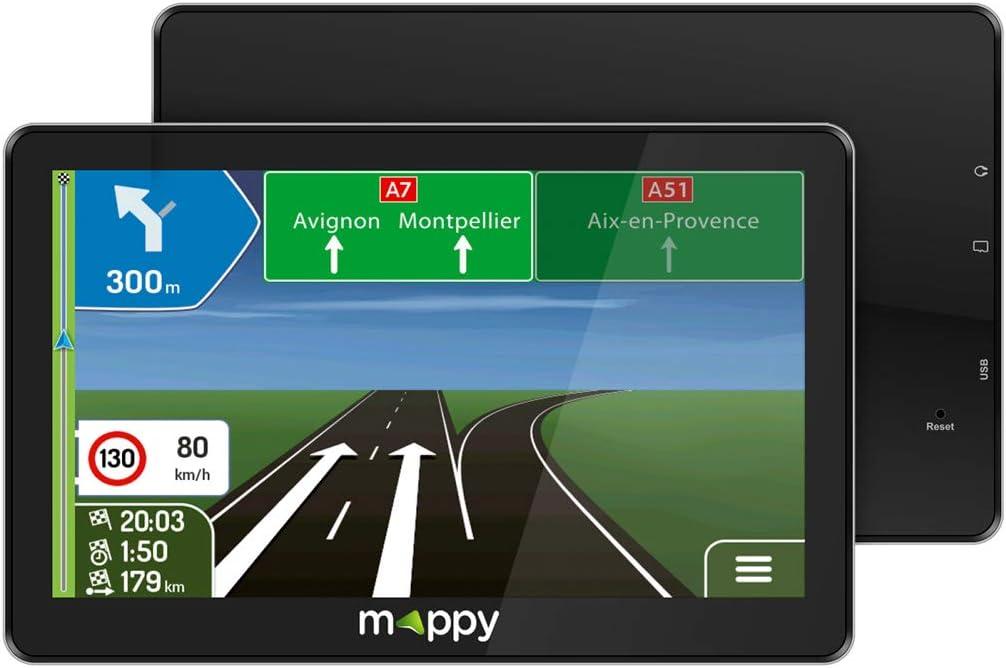 Mappy GPS Maxi E738 (Écran : 7 Pouces - 24 pays - Mise à jour gratuite jusqu'à 4 fois par an) Noir