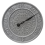 Whitehall Products 3 Crowns Coin Outdoor Thermometer in Pewter Silver