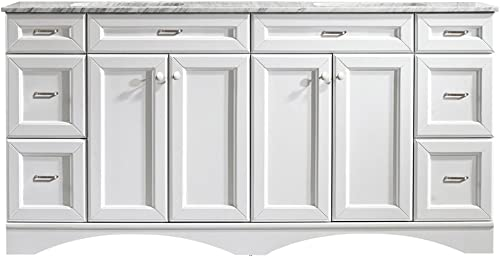Vinnova 710072-WH-CA-NM Naples 72″ Vanity Carrera White Marble Countertop Without Mirror