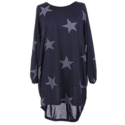 Tops Femme,Xinan Tunique Femme Longue Grande Taille Pullover Robe Baggy  T-shirt Etoile 2cc3695d64d5