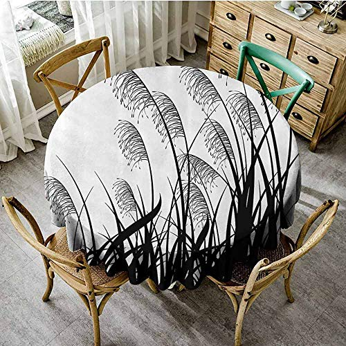 SEMZUXCVO Multi-Pattern Round Tablecloth House Decor Wrinkle Free Silhouette of Bushes Wild Plants Wheat Field Grass with Twiggy Herbs Seasonal Picture D67 White Black from SEMZUXCVO