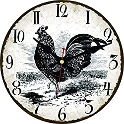ShuaXin Primitive Country Rooster Wall Clock, Shabby Chic Rustic Kitchen Home Antique Style Room Decorative Clocks (12, R-10)