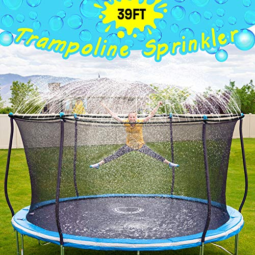 🥇 Trampoline Sprinkler-Trampoline Sprinkler for Kids Outdoor Spary Water park Fun Summer Outdoor Water Games Yard Toys Sprinklers Backyard Water Park for Boys Girls 39 ft