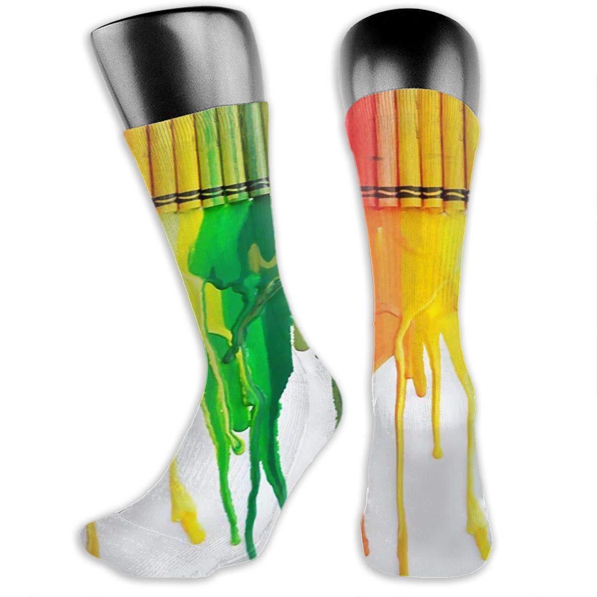 Colorful Rainbow Crayon Painting Art Women Dress Socks High Graduated Athletic Socks 15.7