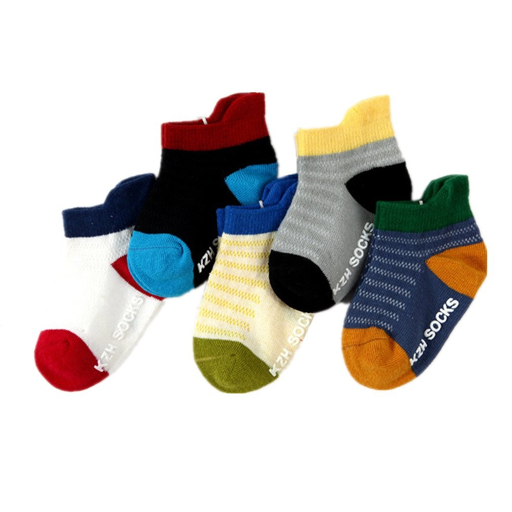 Baby Toddler Non Skid Half Cushion Low Cut Athletic Ankle Socks for Boys and Girls 5 Pack (1T-3T)