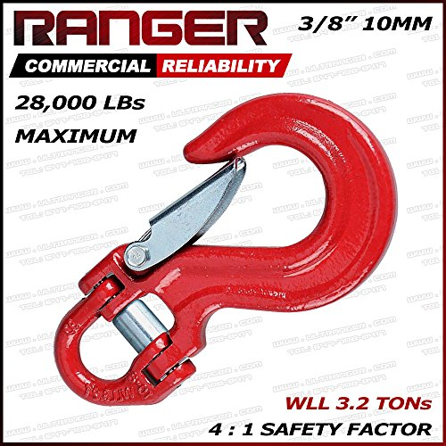 Ranger Half-Link Clevis Safety Latch Swivel Winch Hook 4X4 Application OFF-ROAD RECOVERY (WLL 3.2 Tons Break Point 28,000 LBs)