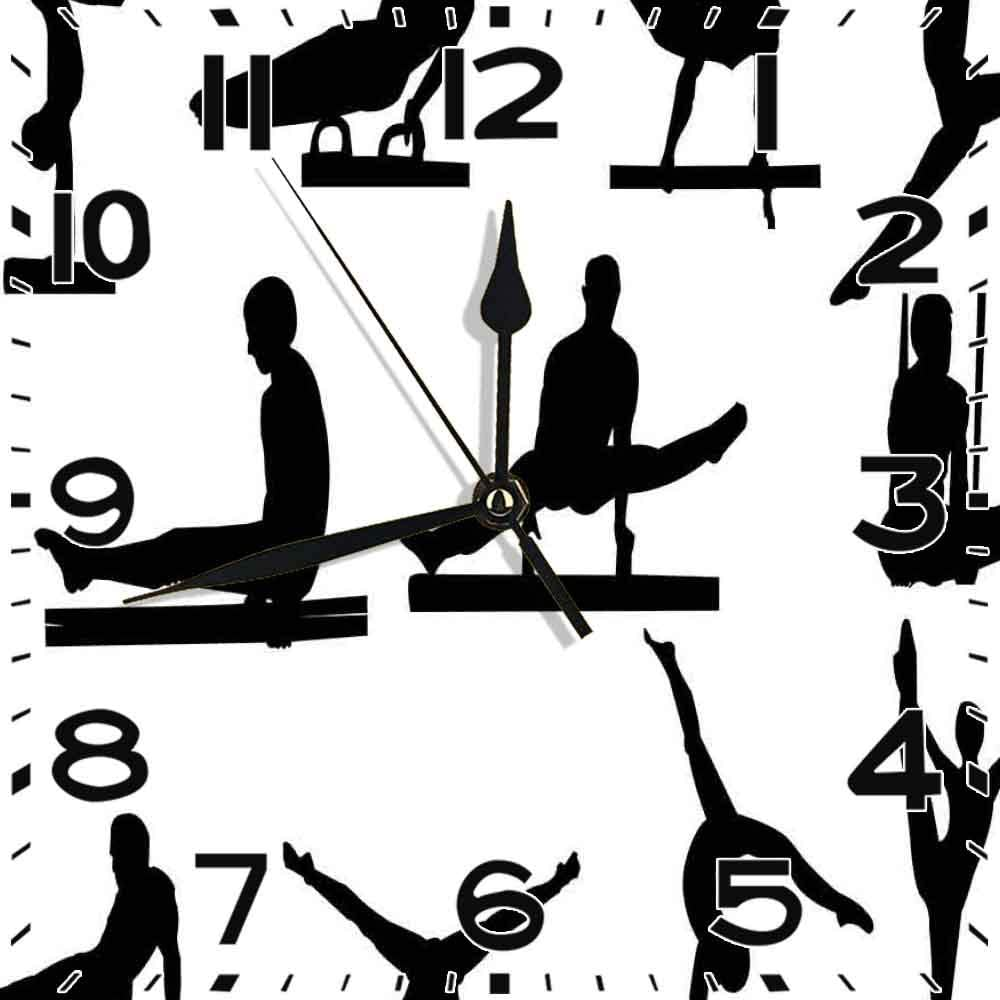 PICOM99 Reloj Cuadrado Gimnasia de Siluetas de Atletas de Caballos con Arcos para Hombres con Diferentes decoración de Oficina en casa silenciosa Reloj sin tictac