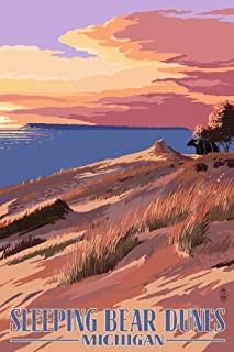 product image for Sleeping Bear Dunes, Michigan - Dunes Sunset and Bear (9x12 Art Print, Wall Decor Travel Poster)