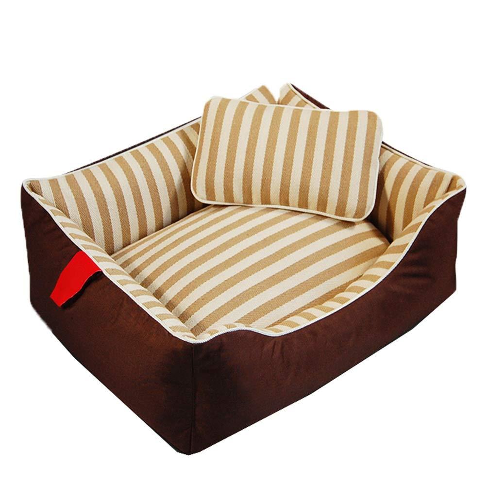 BROWN L BROWN L Pet Bed Pet Sofa Cat Nest Pet Nest Dog Nest Cat Kennel Kennel Stripe Detachable Washable Autumn And Winter Resistant To Dirt FENGMING (color   BROWN, Size   L)
