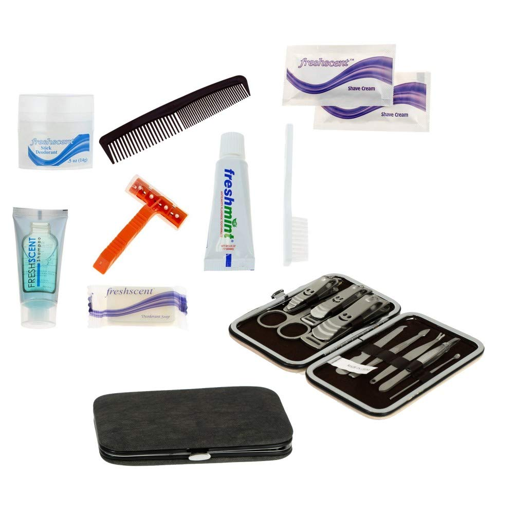 Case of 12 Homeless Care Packages - 9 Piece Bulk Hygiene Kits with 9 Piece Manicure Sets by Moda West