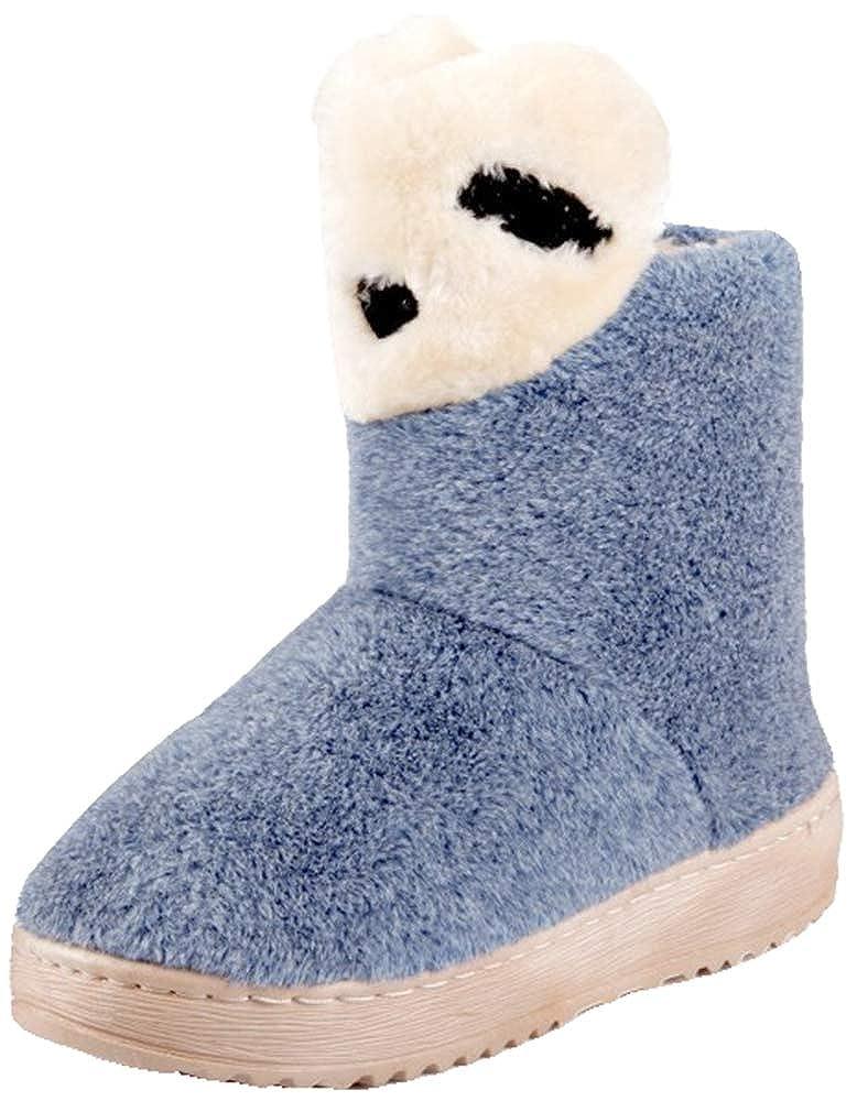 VECJUNIA Girls Fluffy Warm Boots Cute Cartoon Winter Shoes Outdoor Indoor