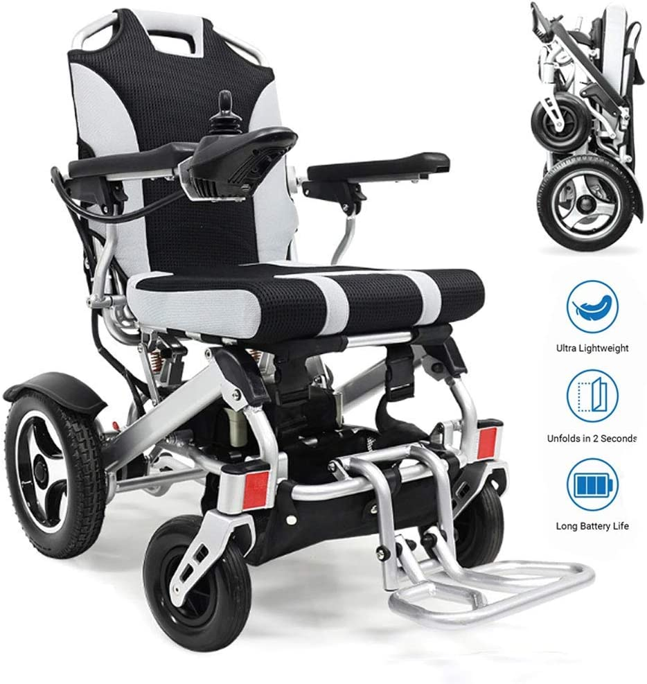 Yuiop Foldawheel Silla de Ruedas eléctrica Ligera Totalmente automática para discapacitados Abrir/Doblar en 1 Segundo Ahora Silla Plegable de Transporte de Aluminio Marco Plegable,Plata,11AH