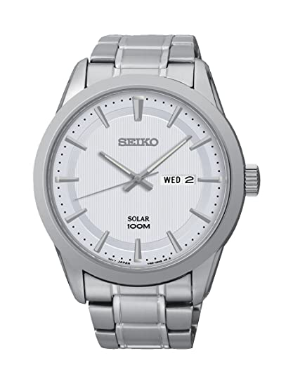 Seiko Solar - Reloj de cuarzo, correa de acero inoxidable: Amazon.es: Relojes