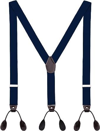 Tirantes Hombre Y-Forma De Botón Ajustable Extra Fuerte Elástico De 3.5cm Ancho 6 Ojales Accesorio Azul marino: Amazon.es: Ropa y accesorios