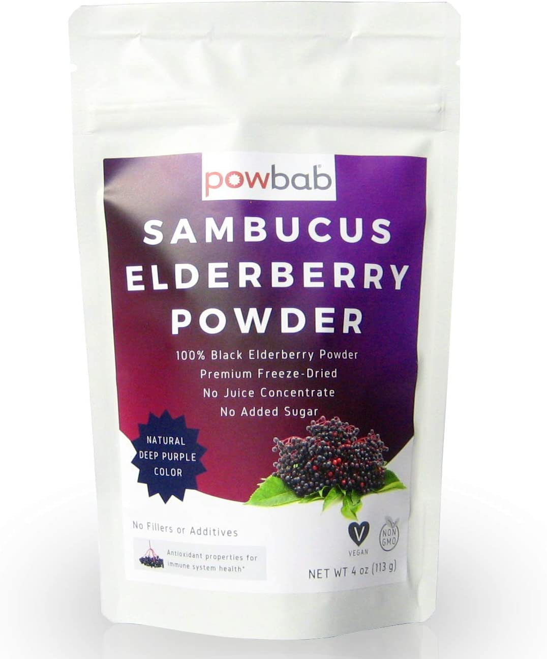 powbab Sambucus Elderberry Powder from 100% Freeze-Dried Organic Elderberries, Chilean (4 oz). No Juice Concentrate, No Sugar Added, No Fillers. immune System Boost - Cold Symptoms, Circulation Health