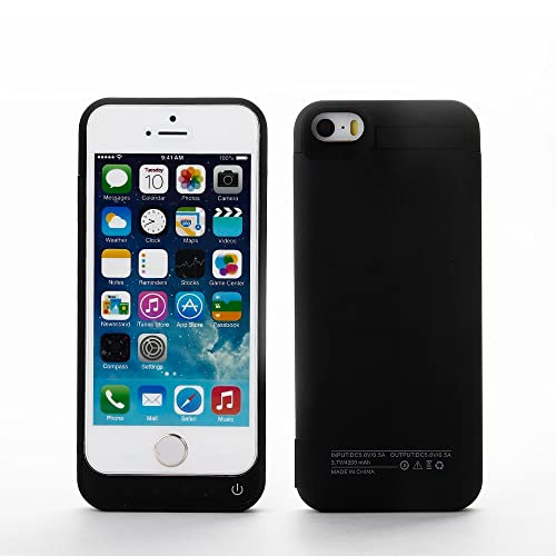 iPhone 5 5C SE 5S Battery Charger Case, Lenuo 4200mAh External Rechargeable Charging Power Pack Extended Backup Case Cover for iPhone 5/5C/5S/SE (Black)