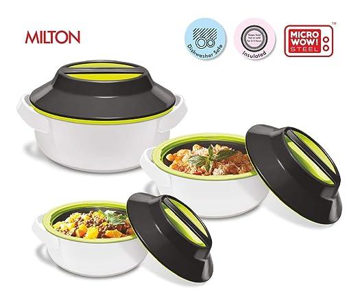 Milton - Juego de 3 cacerolas para microondas (redondas): Amazon ...