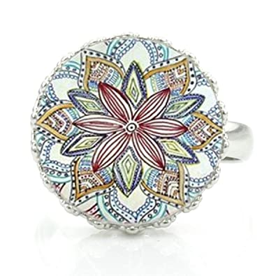 Amazon.com: JWEIJIAO Yoga Mandala Pattern Crown Rings Art ...