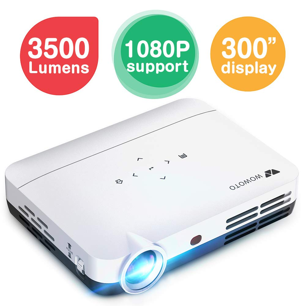 "WOWOTO H8 3500 lumens Mini Projector White LED DLP 1280x800 Real Mini Home Theater Projector WXGA Support 3D 1080P HD Android HDMI USBx2 RJ45 176""± ..."