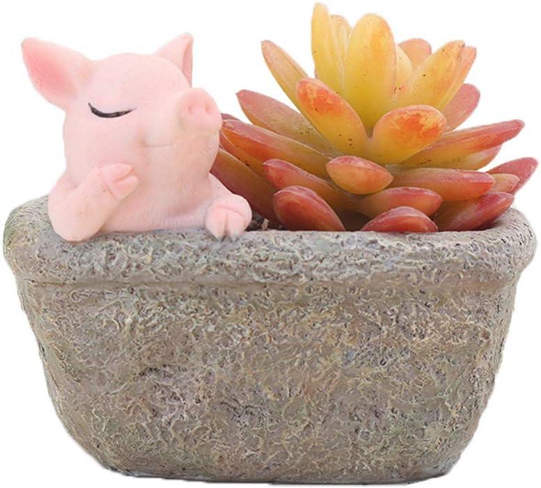 Youfui Home Decor Pot, Succulent Planter Flowerpot Decor for Home Office Desk (Thinking Pig)