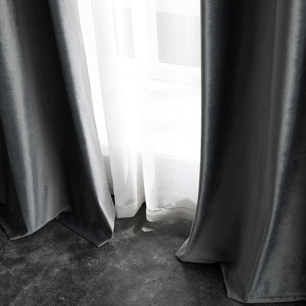 MIULEE 2 Panneaux Doux Velours Rideau Occultant Thermiques R/églage de la Temp/érature Rideaux /à Oeillets /Él/égant D/écoration pour Chambre Salon 140x145cm Bordeaux