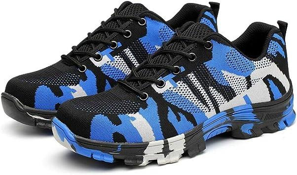 Vaugan Seguridad Zapatos para Hombre, Indestructible a Prueba de Balas Seguridad Zapatos Militar Trabajo Ligero Zapatillas - Azul, 36: Amazon.es: Equipaje