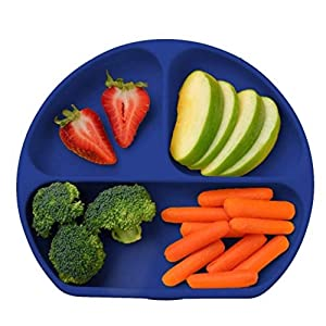 Juliaire, Suction Plates for Babies, and Toddlers | Divided Plates - 3 Compartments | Silicone Plates - Made with 100%, BPA Free, Food Grade Silicone | Microwave Plate Safe (Dark Blue Kids Plate)