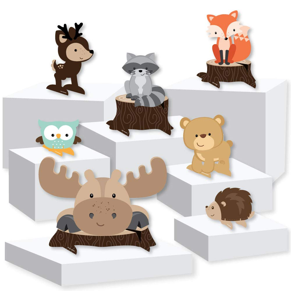 Woodland Creatures - Baby Shower or Birthday Party Centerpiece and Buffet Table Decor - Tabletop Standups - Set of 7