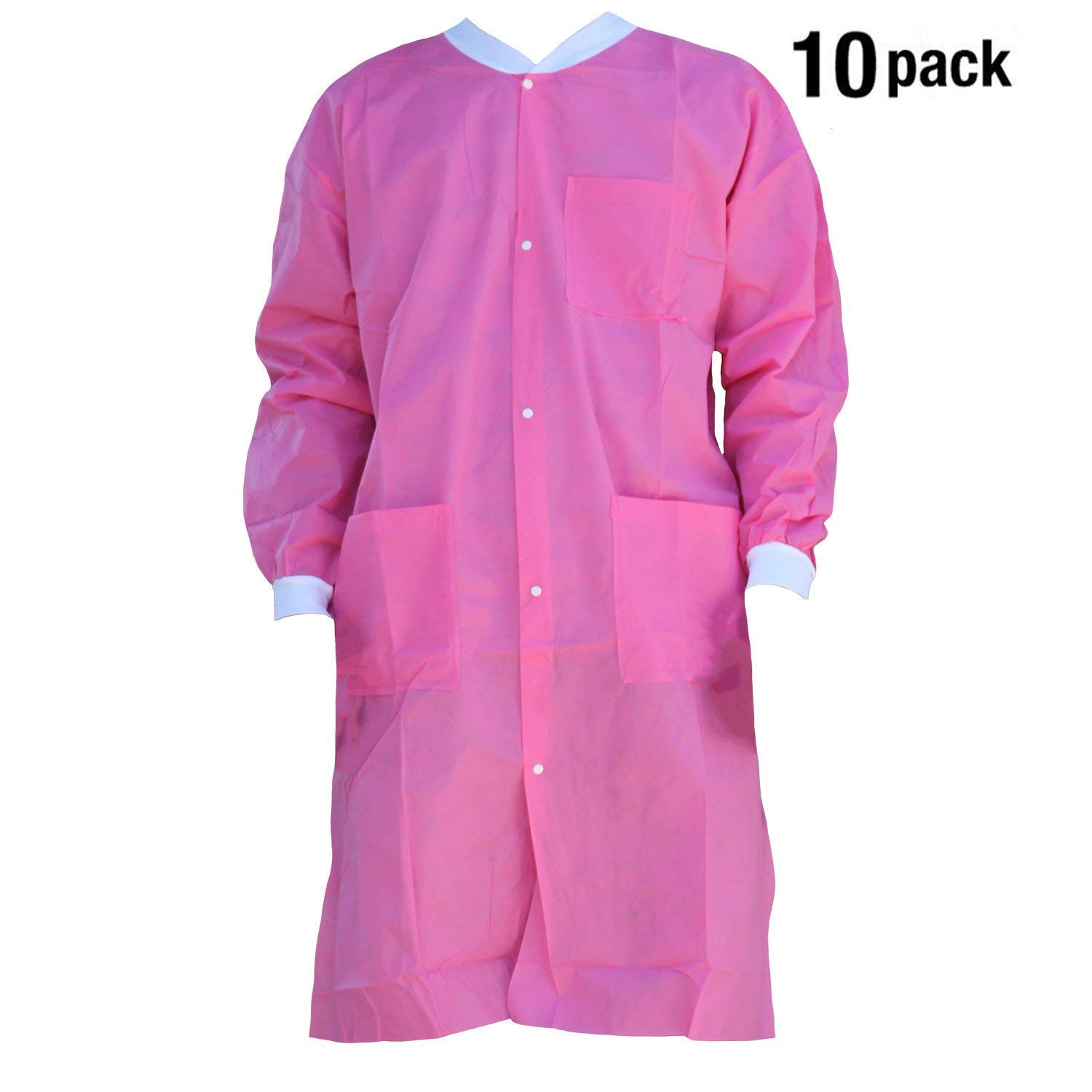 Premium Quality SMS Coat for Medical Professionals, Made of SMS Soft Fabric 3 Layer, Lab SMS Coat Static Free, Latex Free, Pack of 10, (Large, Pink)