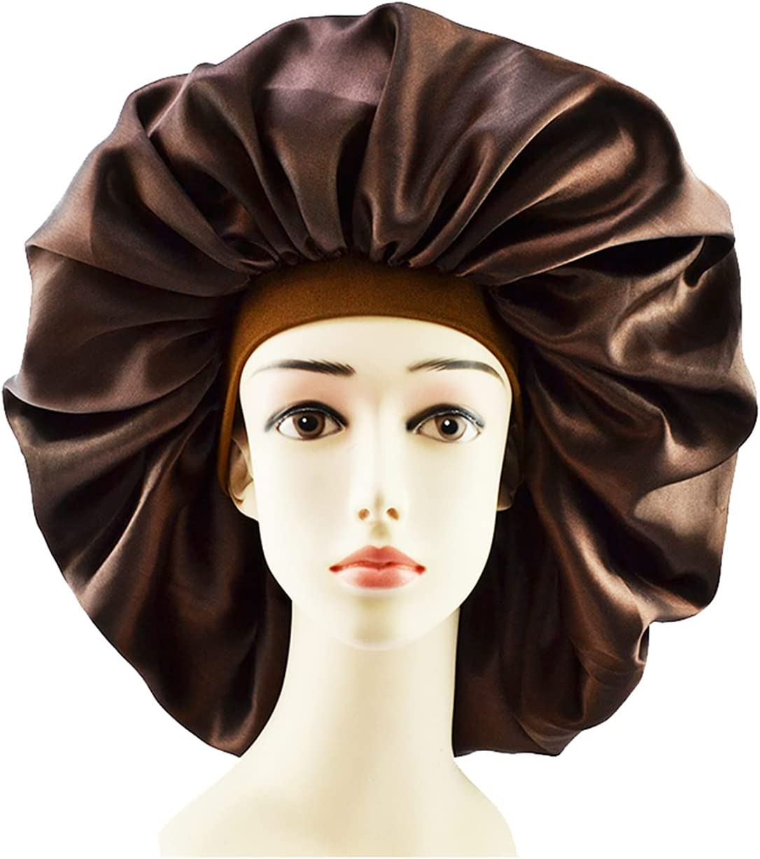 GEQIAN Gorro de ducha impermeable para mujer de tamaño grande, capó sedoso de satén – gorro de noche para dormir, impermeable, para gorro de ducha de pelo rizado con elástico