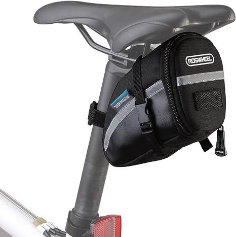 Lixada Bolsa Negra de Sillín de Bicicleta 15x8x9cm para Bicicletas ...