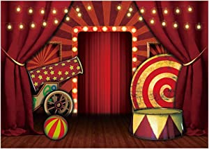 Funnytree 7x5FT Halloween Circus Backdrop Carnival Stage Escape Party Banner Decor Horror Scary Background Hallomas Eve Clown Decoration Supplies Favors Gifts Photo Booth Props