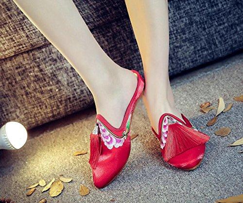 Vent Beijing Chaussures vieux Pantoufles Des De Style Rouges Houppes six Pareilles Un Khskx Cloth Nouvelles Folklorique Chinois Thirty pwSxqPUB5