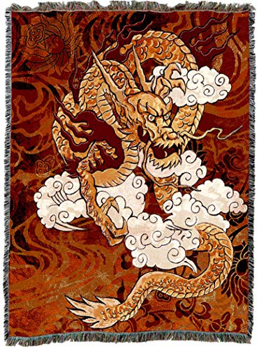 Pure Country Weavers Golden Chinese Dragon Blanket and Woven Wall Hanging Tapestry with Fringe Cotton USA 72x54