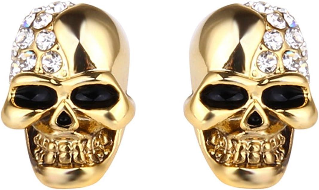 Xusamss Punk Body Piercing Earrings Stainless Steel Crystal Skull Stud Earrings
