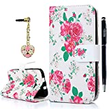 Image of BLU Case, D532U Case - YOKIRIN [Wallet Style] PU Leather [Stand Case] Painted Pink Rose Credit Card Holder Magnetic Design Flip Cover Case for BLU Studio 5.0 ll D532U with Stylus Hourglass Dust Plug