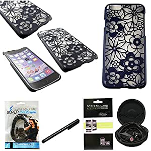 Mstechcorp(TM)Apple iPhone 6 4.7 inch Slim Design Slim and stylish profile CRYSTAL RUBBER CASE + [Touch Screen Stylus] + [Hands Free Earphone With Carrying Case] + [Screen Protector](CRYSTAL FLOWER BLACK)