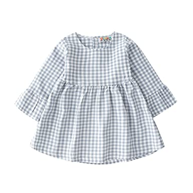 94a720cb1744d Juner Newborn Baby Girls Long Sleeve Plain Plaid Dress Simple Design A-Line  Skirt Outfits